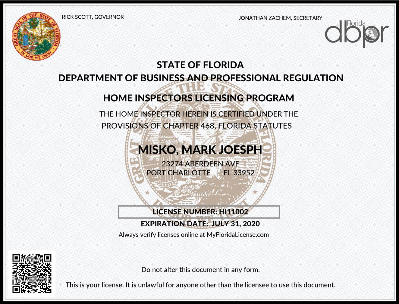 Mark Joseph Misko Home Inspector License