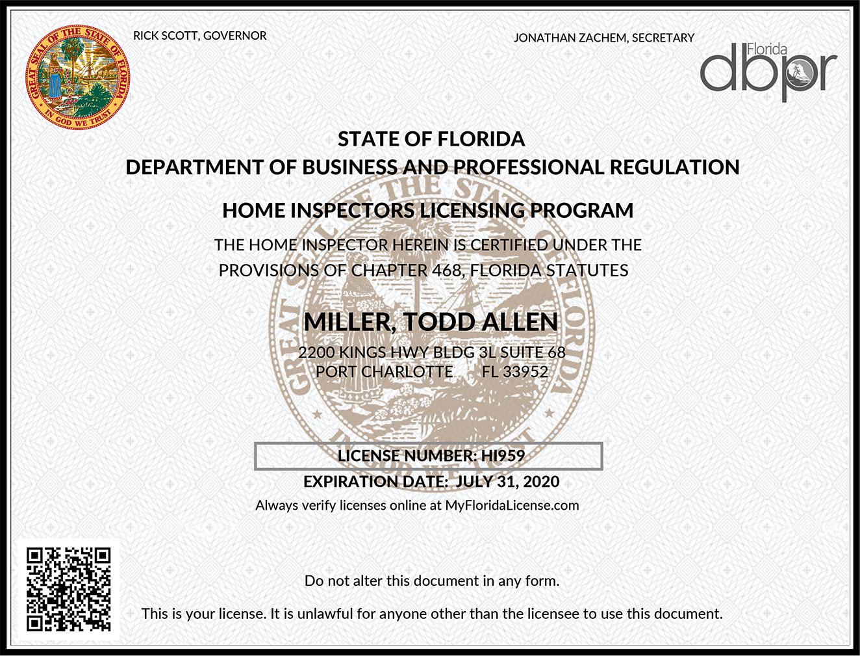 Todd Miller Home Inspector License Port Charlotte Florida